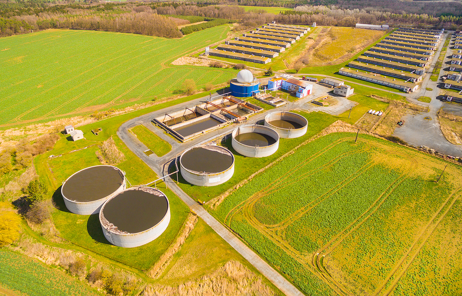 Aerial view to biogas plant