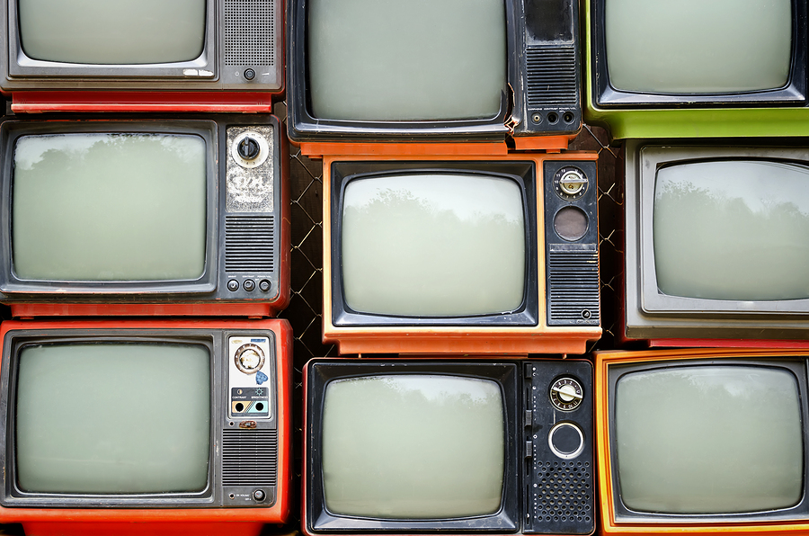 Stack Of Old Televisions