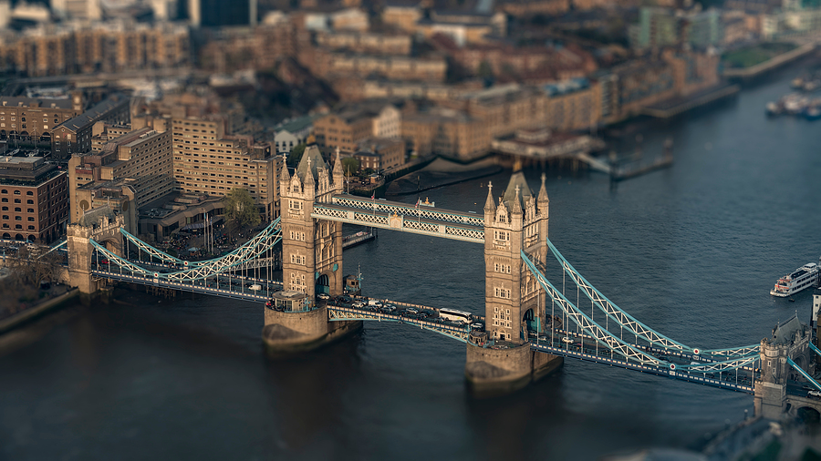 aerial view of the London Tower Bridge with intentional Tilt-Shift-Blur, London, Great Britain