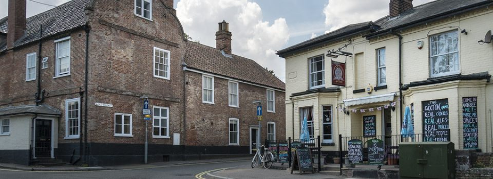 BECCLES, SUFFOLK, UK, JULY 2018 - The Caxton Arms public house in the market town of Beccles, Suffolk, UK