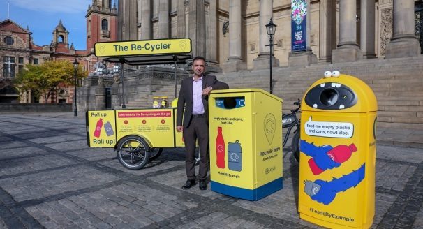 Recycling exhibited outside Leeds town hall.
