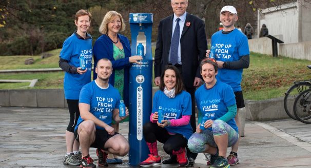 Deputy Presiding Officer Linda Fabiani MSP and Douglas Millican - Scottish Water Chief Executive and runners