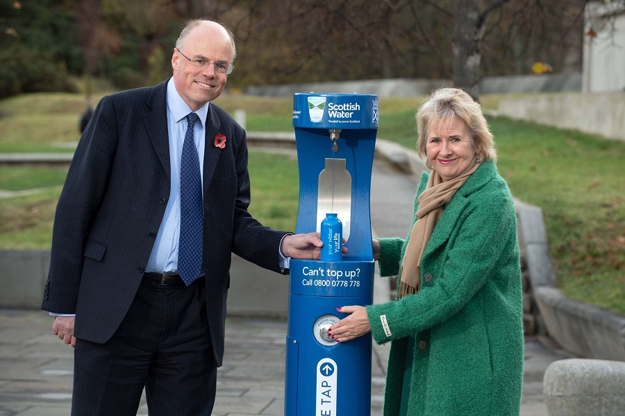 Roseanna Cunningham, Cabinet Secretary for the Environment, Climate Change and Land and Douglas Millican, Chief Executive, Scottish Water