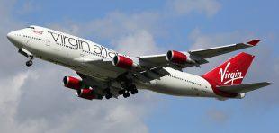A Virgin Atlantic plane lands at Gatwick airport.