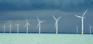 Picture showing newly installed wind farm off the British coast.