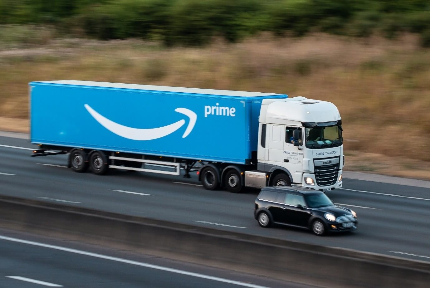 Amazon delivery truck on the road