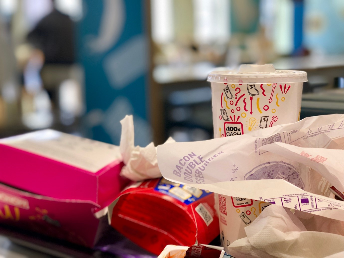 Business food waste such as Mcdonald's wrappers.