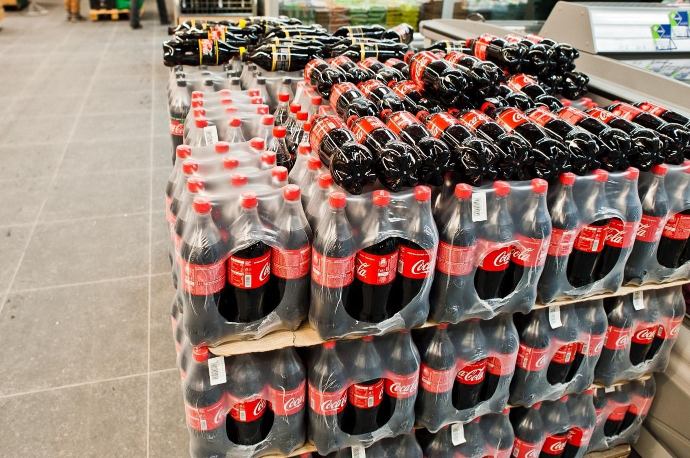 Coca-Cola bottles in a shop.