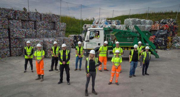 Staff at Coastal Recycling celebrate.