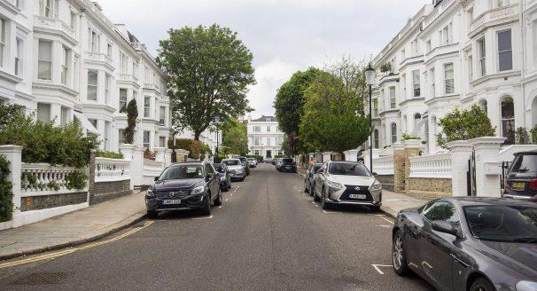 A residential street in Kensington, London.